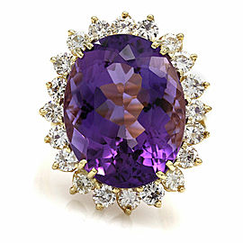 18KY Amethyst and Diamond Ring