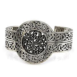 Ornate Indonesian Solid Sterling Silver Filigree Cuff Bracelet