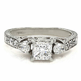 Platinum Multi-shape Diamond Ring with Princess Center Diamond
