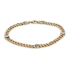 14K 2 Tone Curb Link Bracelet 8.25 IN