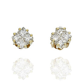 Princess Diamond Cluster Stud Earrings 18KY