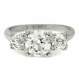 Vintage European Cut Three Stone Diamond Ring in Platinum