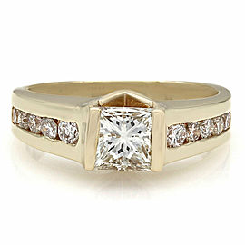 14ky Round Channel Set Ring with 1.14ct Princess Center Diamond