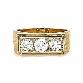 1.72ctw Gentleman's Three Stone Diamond Ring in 14K Yellow Gold