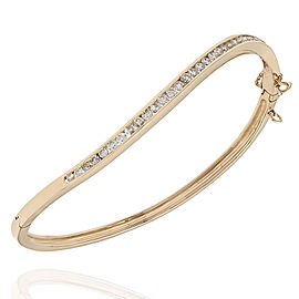14KY Diamond Wave Bangle Bracelet
