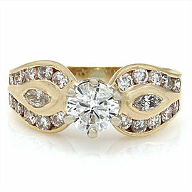 14ky Round and Marquise Diamond Ring with 3/4ct Round Center