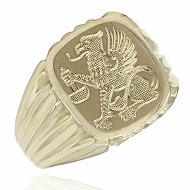 Gentlemans 14KY Tapered Dragon Signet Ring