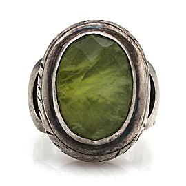 Designer Saville Solid Sterling Silver Green Quartz Statement Ring