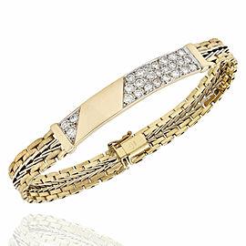 14K 2 Tone Diamond ID Style Bracelet