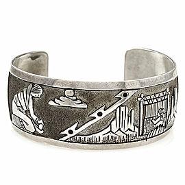 Navajo Handmade Sterling Silver Storyteller Cuff Bracelet Signed F