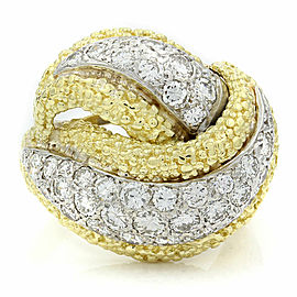 18K 2 Tone Diamond Pave Bypass Ring