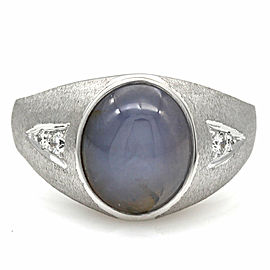 Gentlemans Lavendar Star Sapphire Ring with Diamond Accents