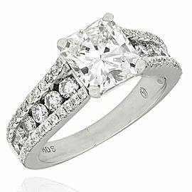 Three Row Round Diamond Ring with 1.50ct Radiant Center in 14kw