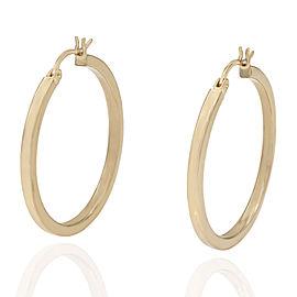 14KY Square Edge Round Hoop Earrings