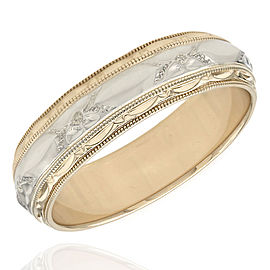14K 2 Tone Milgrain Edged Wedding Band