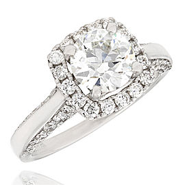 Two Sided Diamond Halo Ring with 1.29ct Round Center in 18kw