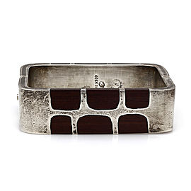 Vintage Mexican Handmade Sterling Silver Wood Inlay Bangle Bracelet