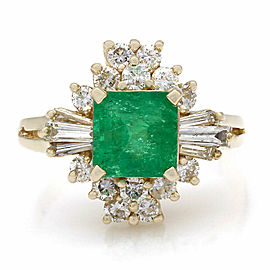 14KY Emerald and Diamond Ring