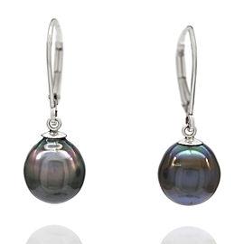 14KW Black South Sea Pearl Drop Earrings