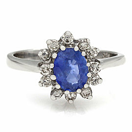 LeVian 18KW Sapphire and Diamond Ring