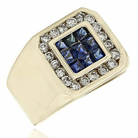 Gentlemans 18KY Sapphire and Diamond Ring