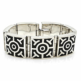Vintage Mexican Handmade Sterling Silver Black Enamel Inlay Panel Link Bracelet