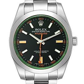 Rolex Milgauss Green Crystal Steel Mens Watch 116400V Box Card