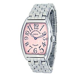 Franck Muller Cintree Curvex Stainless Steel Quartz Pink Ladies Watch 7502 QZ