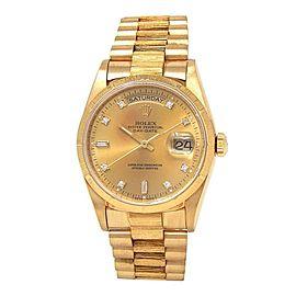 Rolex Day Date 18k Yellow Gold President Diamonds Champagne Men's Watch 18248