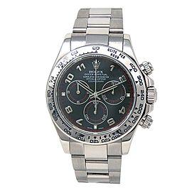 Rolex Daytona 18k White Gold Oyster Chronograph Black Men's Watch 116509