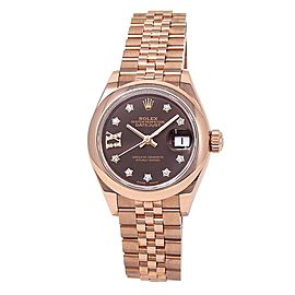 Rolex Datejust 18k Everose Gold Jubilee Automatic Chocolate Ladies Watch 279165
