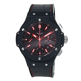 Hublot Big Bang Red Magic Ceramic Leather Auto Black Men's Watch 301.CI.1123.GR