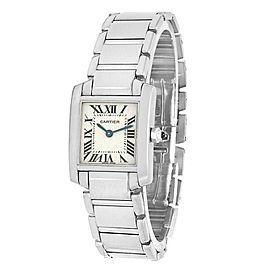 Cartier Tank Francaise 18k White Gold Quartz Silver Ladies Watch W50012S3