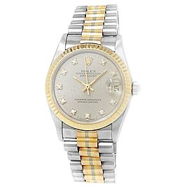 Rolex Datejust 18k White Gold President Gold Diamonds Silver Midsize Watch 68279