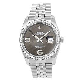 Rolex Datejust Stainless Steel Jubilee Diamonds Brown Floral Ladies Watch 116244