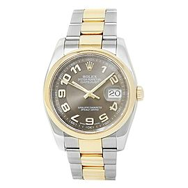 Rolex Datejust 18k Yellow Gold Stainless Steel Automatic Brown Mens Watch 116203