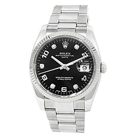 Rolex Date Stainless Steel Oyster Automatic Diamonds Black Men's Watch 115234