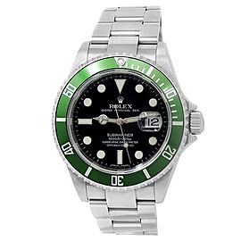 Rolex Submariner Stainless Steel Oyster Green Automatic Black Men's Watch 16610