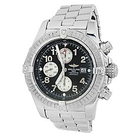 Breitling Super Avenger Stainless Steel Chronograph Auto Black Mens Watch A13370