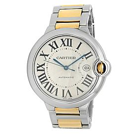 Cartier Ballon Bleu 18k Yellow Gold Steel Automatic Silver Men's Watch W2BB0022