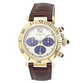 Cartier Pasha 18k Yellow Gold Leather Chronograph Quartz White Men's Watch 30009