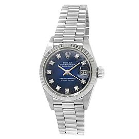 Rolex Datejust 18k White Gold President Automatic Diamond Blue Ladies Watch 6917