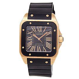 Cartier Santos 100 XL 18k Rose Gold Rubber Automatic Black Men's Watch W20124U2