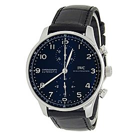 IWC Portuguese Stainless Steel Leather Chronograph Black Men's Watch IW371447