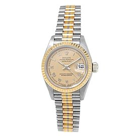 Rolex Datejust 18k White Tridor Gold Automatic Champagne Ladies Watch 69179