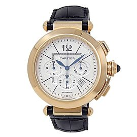Cartier Pasha 18k Rose Gold Chronograph Automatic Silver Men's Watch W3020151