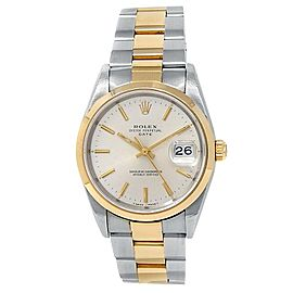 Rolex Date 18k Yellow Gold Stainless Steel Oyster Auto Silver Men's Watch 15203