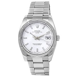 Rolex Oyster Perpetual Date Stainless Steel Oyster Auto White Men's Watch 115210