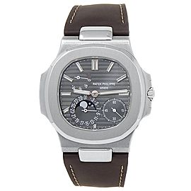 Patek Philippe Nautilus 18k White Gold Leather Auto Grey Men's Watch 5712G-001