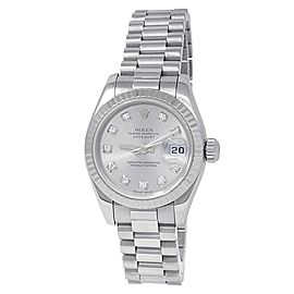 Rolex Datejust 18k White Gold President Auto Diamonds Silver Ladies Watch 179179